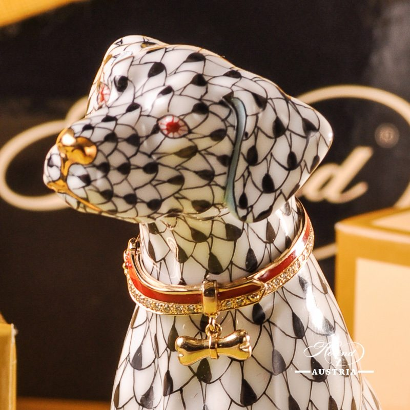 Jewelled Dog Animal Figurine - Herend Black Fish Scale VHN pattern. Herend 15566-0-00 VHN design. Herend fine china. Hand painted ornaments