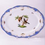 Oval Dish 103-0-00 RO-ETB Rothschild Bird Blue Fish scale decor. Herend porcelain. Hand painted tableware