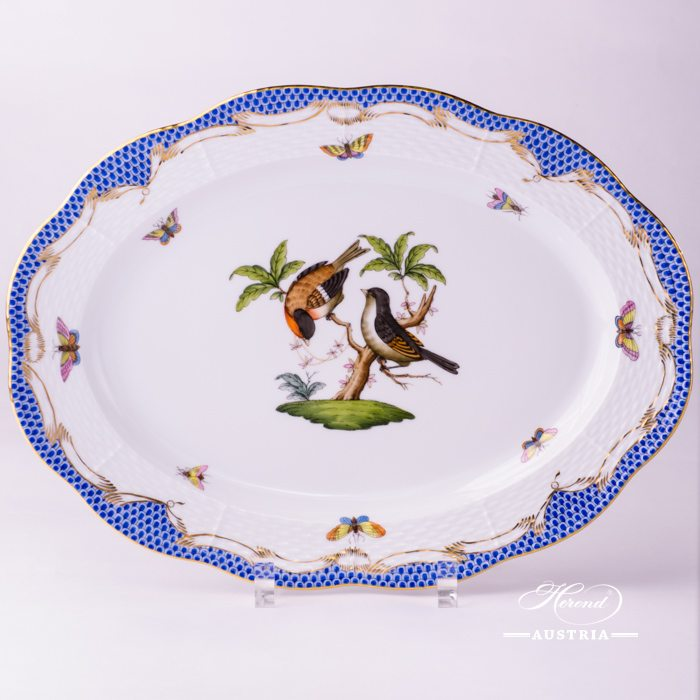 Rothschild Birds with Blue Fish-Scale Oval Dish - 103-0-00 RO-ETB - Herend Porcelain