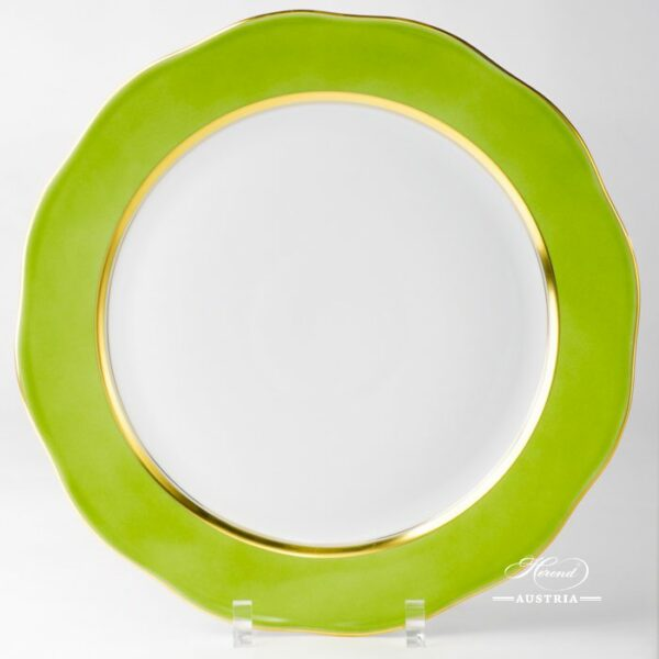Serving Plate / Round Dish 20156-0-00 CV3 Green Edge design. Herend porcelain. Hand painted tableware