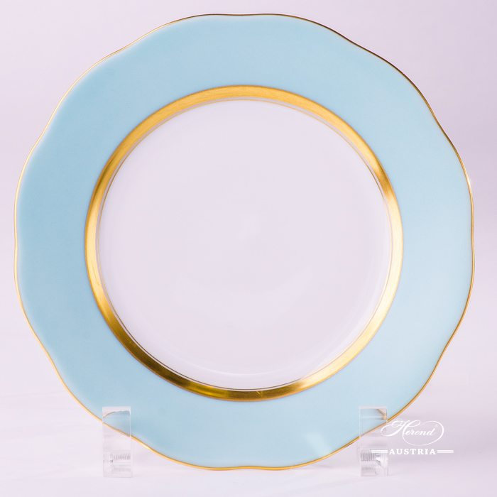 Dessert Plate 20517-0-00 CTQ1 Royal Garden Turquoise Edge pattern. Herend Turquoise Monochrome Edge design. Fine china and hand painted. Tableware