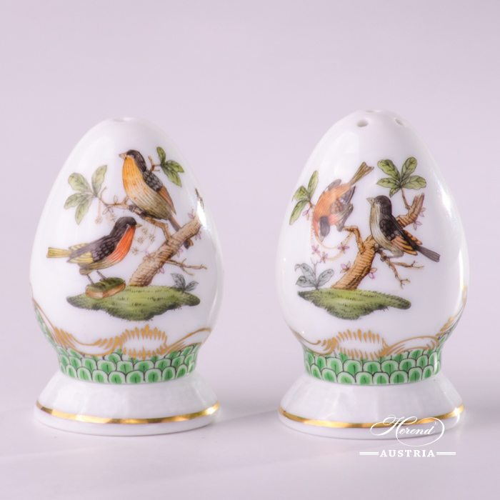 Rothschild Birds with Green Fish-Scale Salt and Pepper Shaker - 249-0-00 RO-ETV - Herend Porcelain