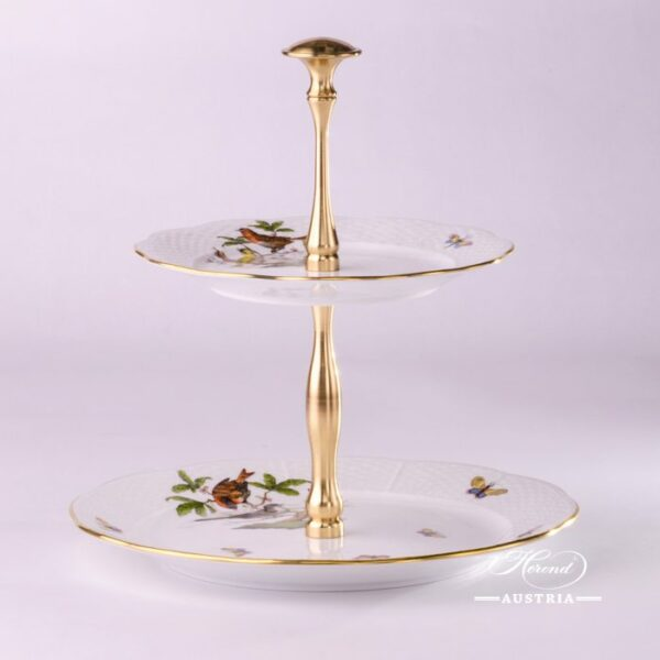 308-0-92 VBO fruit stand Victoria avec bord en or Herend porcelain