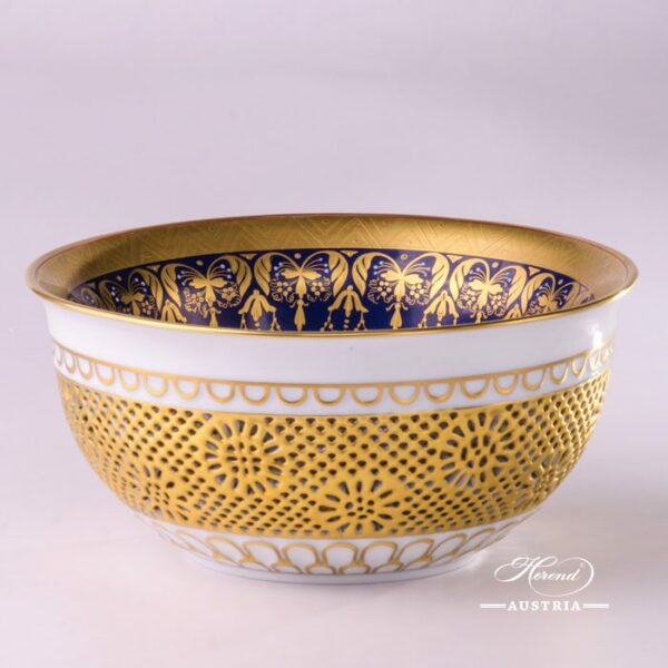 Golden Rococo Bowl 3232-0-00 SP1050 Cobalt and Gold Special pattern. Herend fine china and hand painted. Round shaped Ornaments with double walled