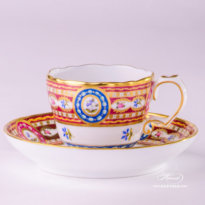 Silk Brocade Coffee Cup and Saucer - 3599-0-00 EGAVT - Herend Porcelain