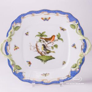 Herend Porcelain - Cake Plate with Couple of Birds Blue Fishnet-RO ETB decor