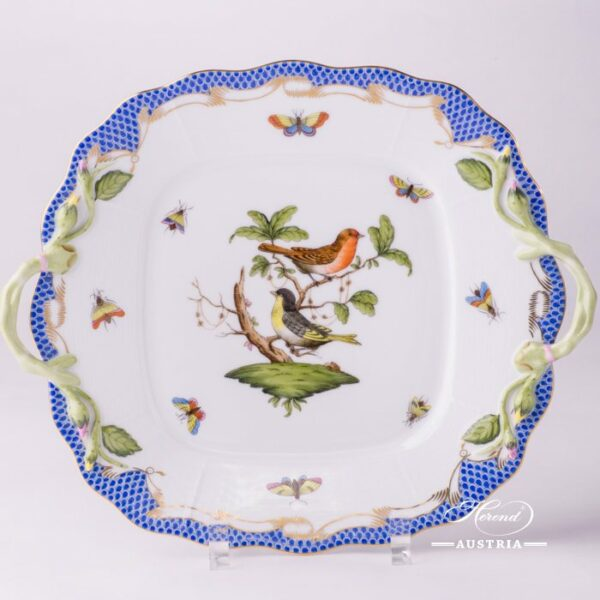 Cake Plate 430-0-00 RO-ETB Rothschild Bird Blue Fish scale decor. Herend porcelain. Hand painted tableware