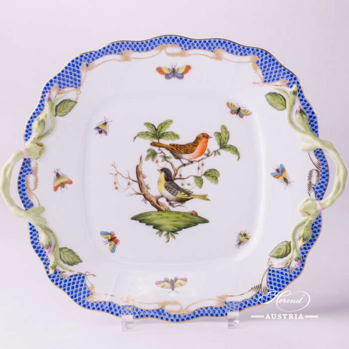Rothschild Birds with Blue Fish-Scale Cake Plate - 430-0-00 RO-ETB - Herend Porcelain