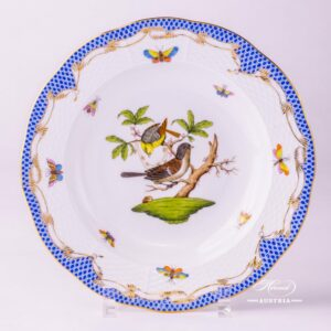 Herend Porcelain - Dinner Plate with Couple of Birds Blue Fishnet-RO ETB decor