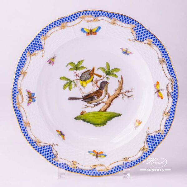 Soup Plate 504-0-00 RO-ETB Rothschild Bird Blue Fish scale decor. Herend porcelain. Hand painted tableware