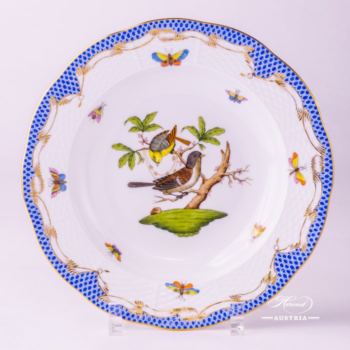 Rothschild Birds with Blue Fish-Scale Soup Plate - 504-0-00 RO-ETB - Herend Porcelain
