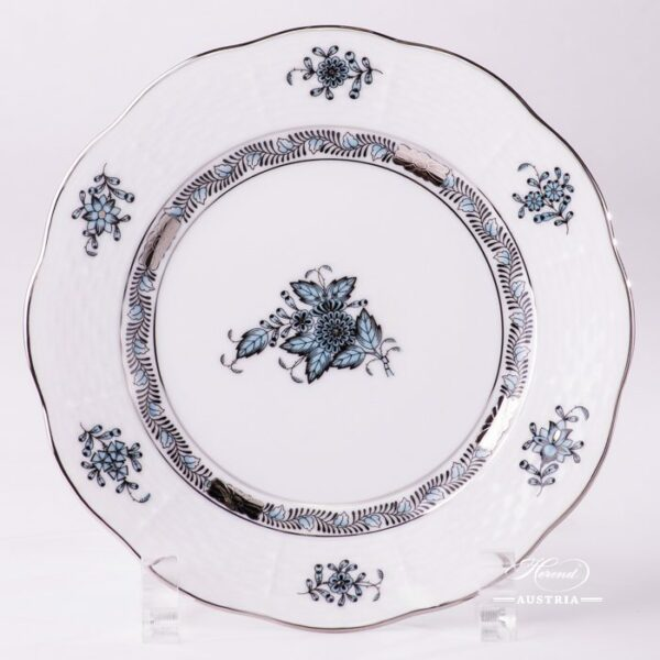 Dessert Plate 517-0-00 ATQ3-PTChinese Bouquet Turquoise / Apponyi ATQ3-PTpattern. Turquoisew. Platinum design. Herend fine china. Hand painted tableware