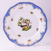 Herend Porcelain - Dessert Plate with Couple of Birds Blue Fishnet-RO ETB decor
