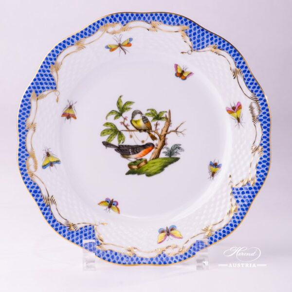 Dessert Plate 517-0-00 RO-ETB Rothschild Bird Blue Fish scale decor. Herend porcelain. Hand painted tableware