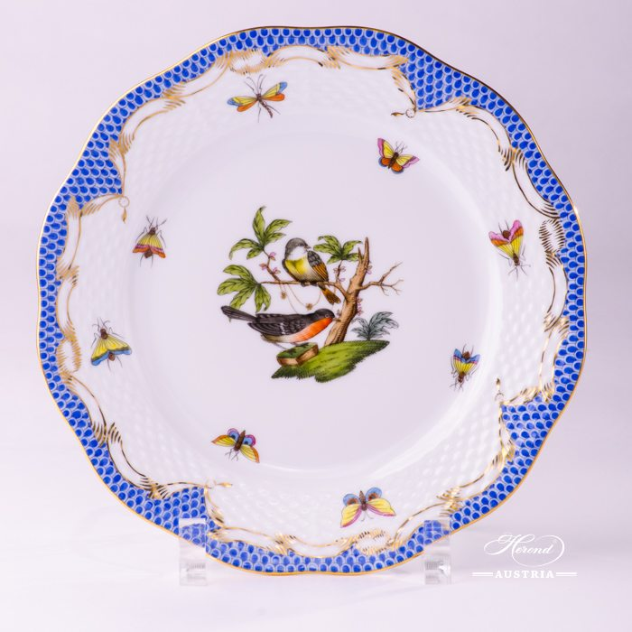 Rothschild Birds with Blue Fish-Scale Dessert Plate - 517-0-00 RO-ETB - Herend Porcelain