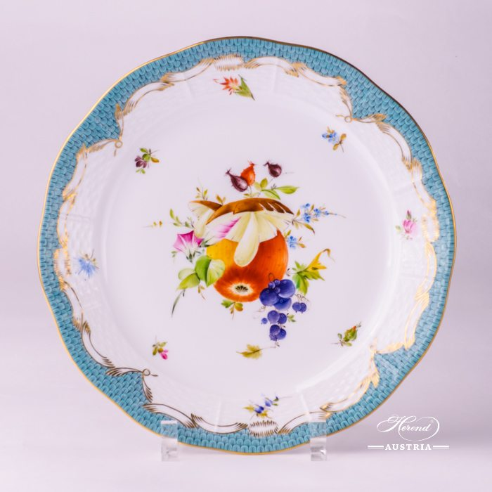 Fruits with Turquoise Fish-Scale Dinner Plate - 524-0-00 CFR-ET - Herend Porcelain