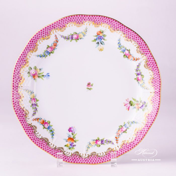 Flower Garland with Pink Fish-Scale Dinner Plate - 524-0-00 LTBS-EPH - Herend Porcelain