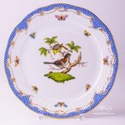 Herend Porcelain - Dinner Plate with Couple of Birds Blue Fishnet-RO ETB decor
