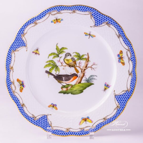 Dinner Plate 524-0-00 RO-ETB Rothschild Bird Blue Fish scale decor. Herend porcelain. Hand painted tableware