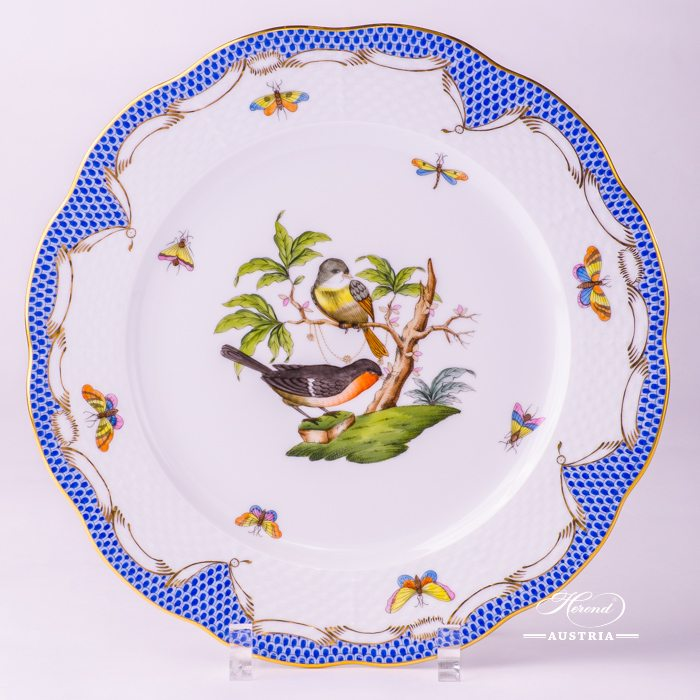 Rothschild Birds with Blue Fish-Scale Dinner Plate - 524-0-00 RO-ETB - Herend Porcelain