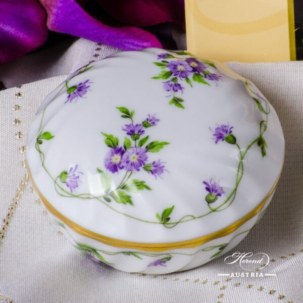 Bonbonniere / Candy Jar 6037-0-00 IA Imola Flower pattern. Herend fine china and hand painted. Round shaped Ornaments