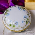 Bonbonniere - Round Shaped 6037-0-00 NY Nyon / Morning Glory design. Herend porcelain. Hand painted ornaments