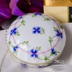 Bonbonniere / Candy Jar 6037-0-00 PBG Cornflower Garland pattern. Herend fine china and hand painted. Round shaped Ornaments