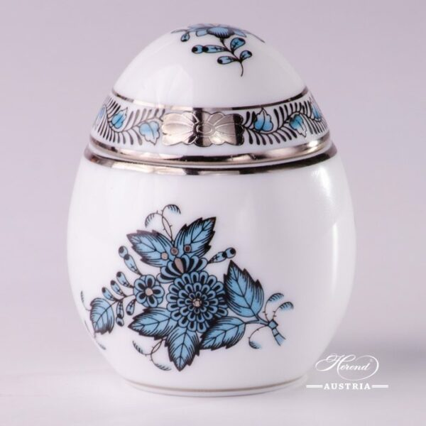 Bonbonniere / Candy Jar 6043-0-00 ATQ3-PT Chinese Bouquet / Apponyi Turquoise w. Platinum pattern. Herend fine china and hand painted. Egg shaped Ornaments