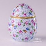 Bonbonniere / Candy Jar 6043-0-00 QHF5 Small Flowers pattern. Herend fine china and hand painted. Egg shaped Ornaments