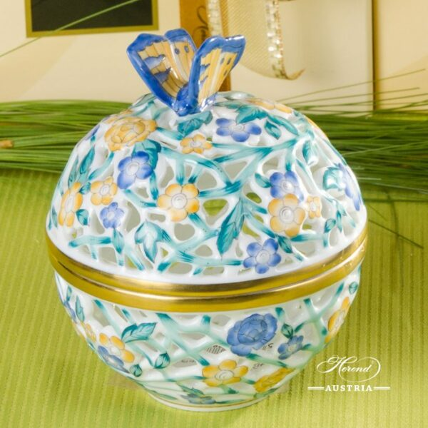 Bonbonniere / Candy Jar w. Butterfly Knob 6214-0-17 Blue - Yellow - Turquoise C3 pattern. Herend fine china and hand painted. Openwork Ornaments