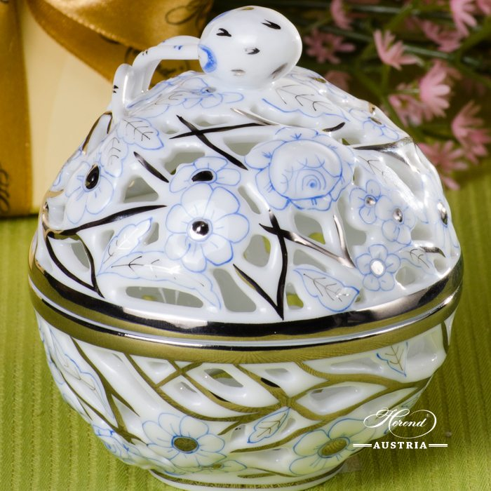 Bonbonniere / Candy Jar w. Strawberry Knob 6215-0-11  Blue with Platinum CPTB pattern. Herend fine china and hand painted. Openwork Ornaments