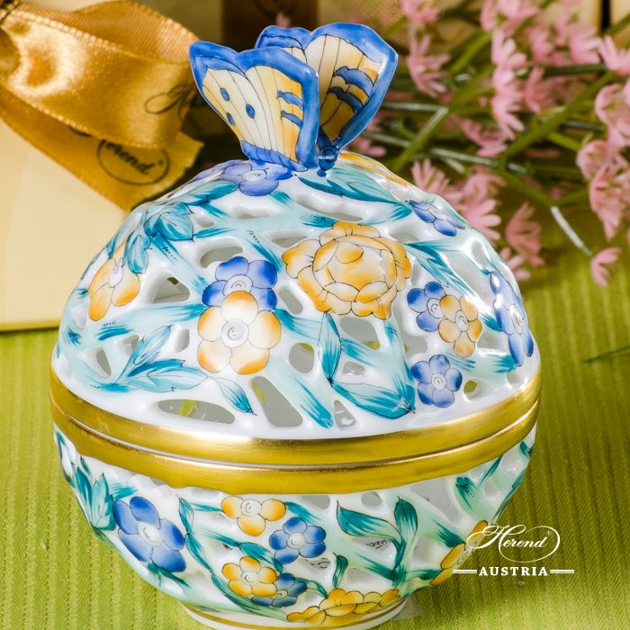 Bonbonniere / Candy Jar w. Butterfly Knob 6215-0-17 Blue - Yellow - Turquoise C3 pattern. Medium size. Herend fine china and hand painted. Openwork Ornaments