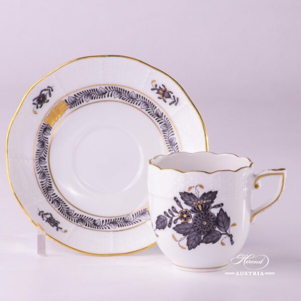Apponyi Gray 709-0-00 ANG Coffee Cup and Saucer Herend porcelain