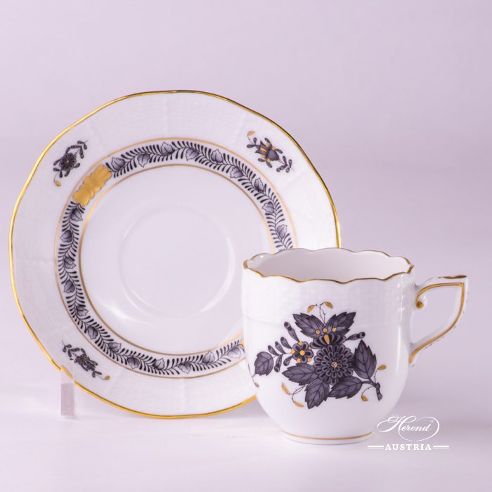 Apponyi-Gray Coffee Cup and Saucer - 709-0-00 ANG - Herend Porcelain
