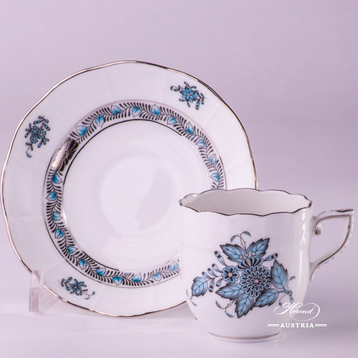 Apponyi-Turquoise Coffee Cup and Saucer - 709-0-00 ATQ3-PT - Herend Porcelain