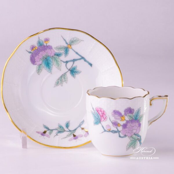 Coffee / Espresso Cup and Saucer709-0-00 EVICTF2 Royal Garden Turquoise Flower pattern. Herend fine chinahand painted. Tableware
