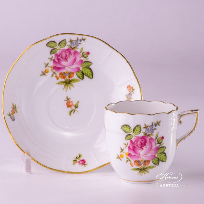Small Bunch of Roses Coffee Cup and Saucer - 709-0-00 PBR - Herend Porcelain