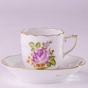 Small Bunch of Roses 709-0-00 PBR6 Coffee Cup and Saucer Herend porcelain