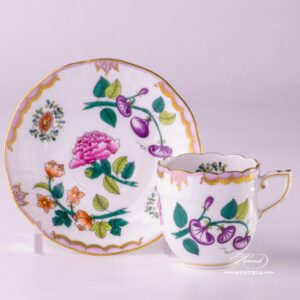 Windsor Flowers 709-0-00 WBO Coffee Cup and Saucer Herend porcelain