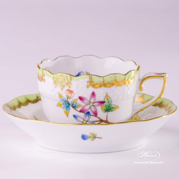Coffee / Espresso Cup and Saucer 711-0-00 VBO Queen Victoria design. Herend porcelain hand painted