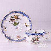 Herend Porcelain - Tea Cup with Couple of Birds Blue Fishnet-RO ETB decor
