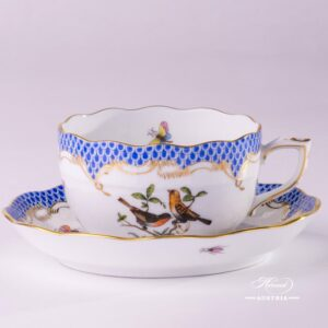 Herend Porcelain - Tea Cup with Couple of Birds Blue Fishnet-RO ETB decor