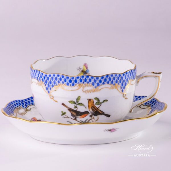 Tea Cup with Saucer 724-0-00 RO-ETB Rothschild Bird Blue Fish Scale decor. Herend porcelain hand painted
