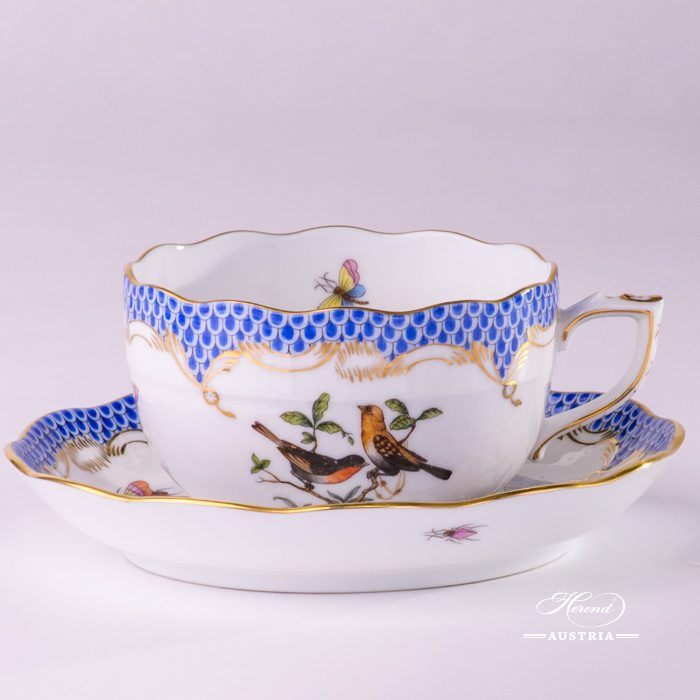 Rothschild Birds with Blue Fish-Scale Tea Cup and Saucer - 724-0-00 RO-ETB - Herend Porcelain