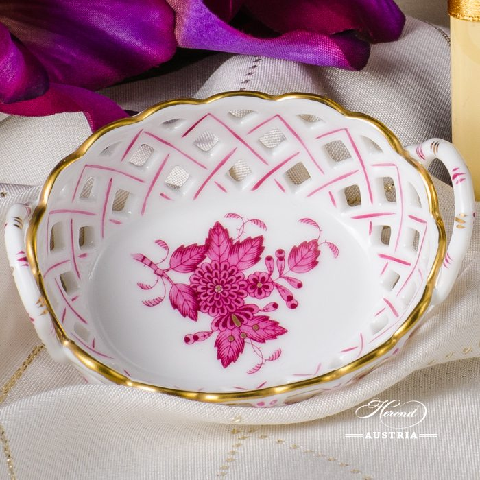Apponyi-Pink Basket with Handle - 7425-0-00 AP - Herend Porcelain