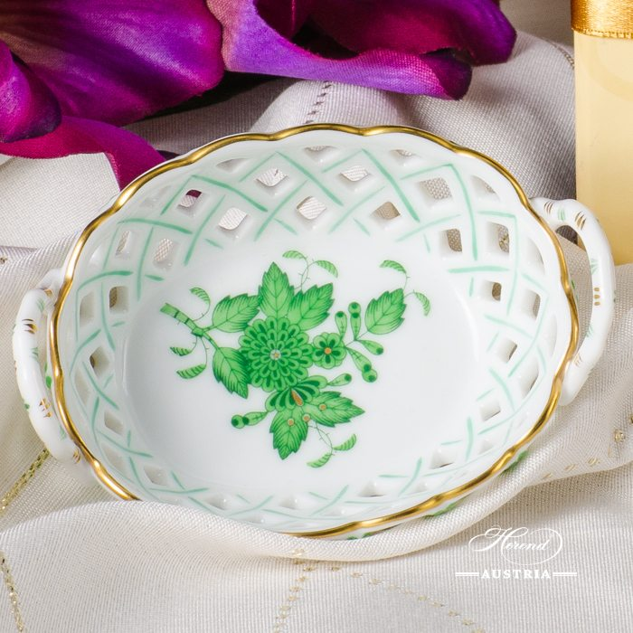 Apponyi-Green Basket with Handle - 7425-0-00 AV - Herend Porcelain