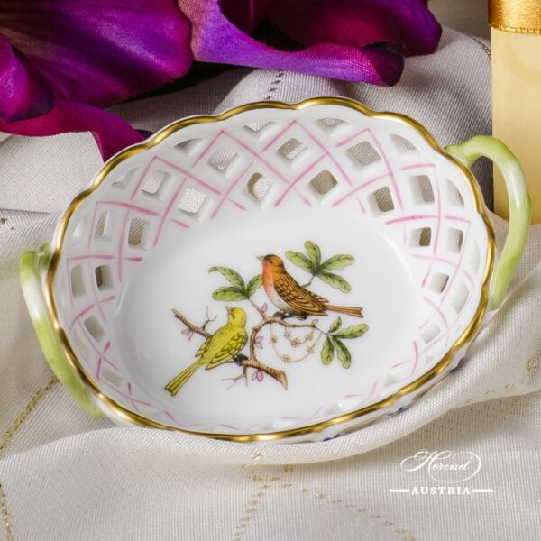 Basket w. Handle 7425-0-00 RO Rothschild Bird design. Herend fine china. Herend Classic pattern. Hand painted ornaments