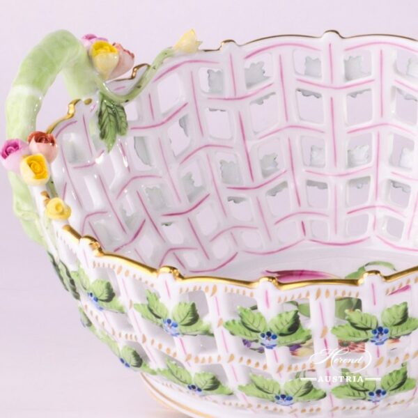Basket w. Handle 7470-0-00 BT Bunch of Tulip pattern. Herend fine china. Hand painted ornaments