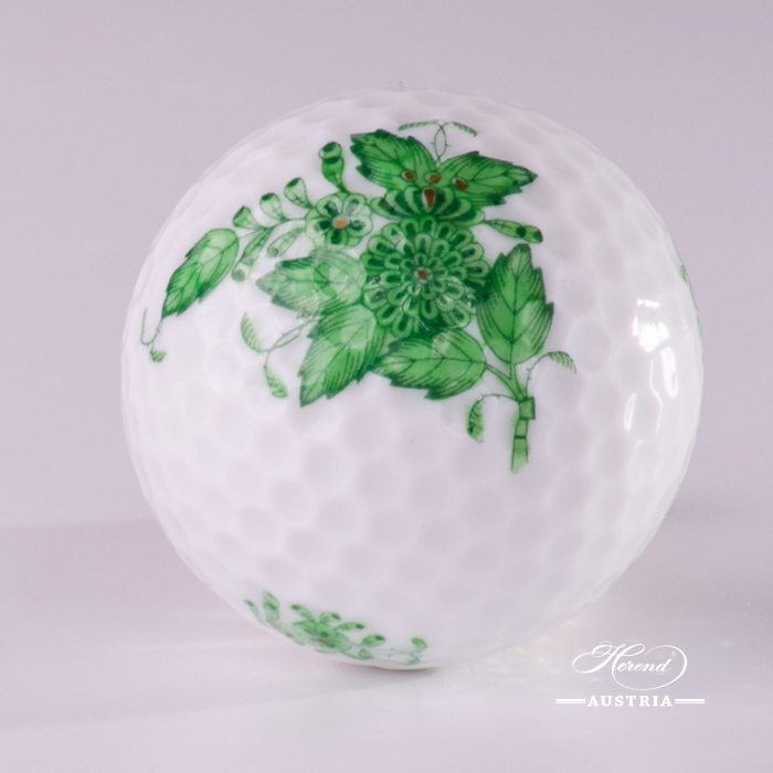 Golf Ball 7803-0-00 AV Chinese Bouquet Green / Apponyi Greenpattern. Classic Herend design. Herend fine china. Hand painted Ornaments
