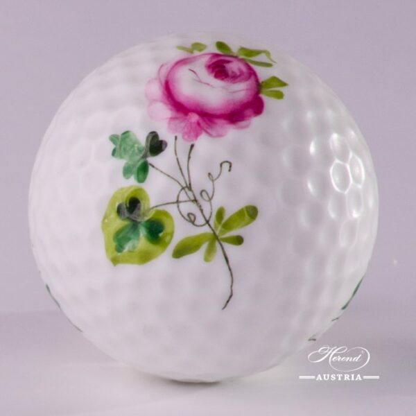 Golf Ball 7803-0-00 Vienna Rose / Viennese Rose VRH pattern. Herend fine china. Hand painted ornaments and giftware
